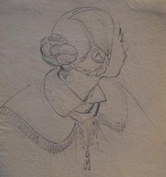 Eugène Devéria (1805-1865)  Young Woman Profile  Drawing