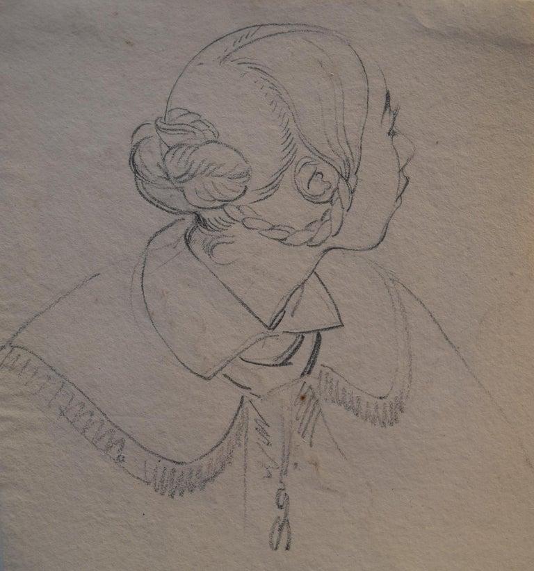 Eugene Deveria Portrait - Eugène Devéria (1808-1865)  Young Woman Profile  Drawing