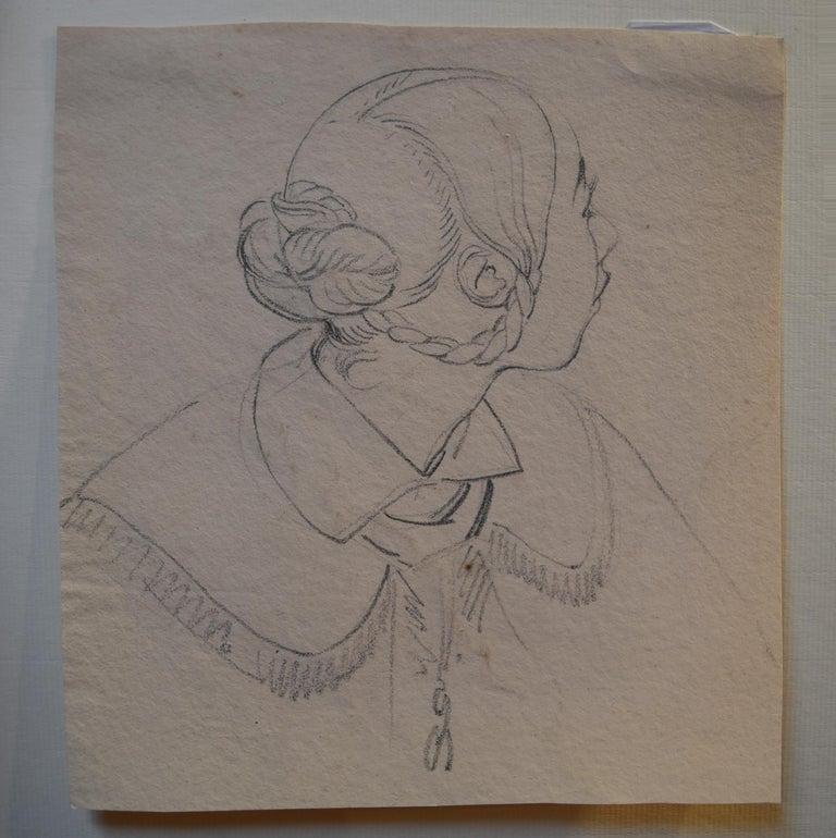 Eugène Devéria (1808-1865)  Young Woman Profile  Drawing - Art by Eugene Deveria