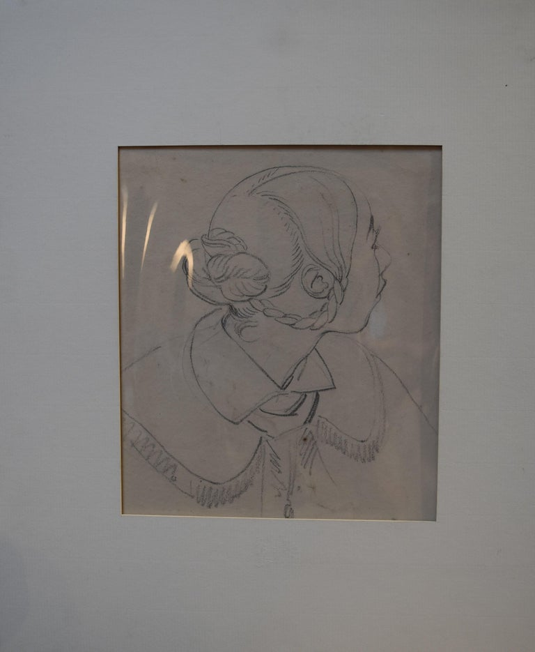 Eugène Devéria (1808-1865)  Young Woman Profile  Drawing - Academic Art by Eugene Deveria