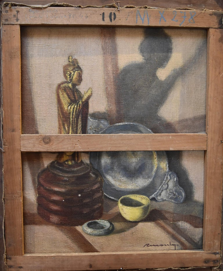 Roger Mouly, Young Man, Still Life With A Buddha On Reverse 2