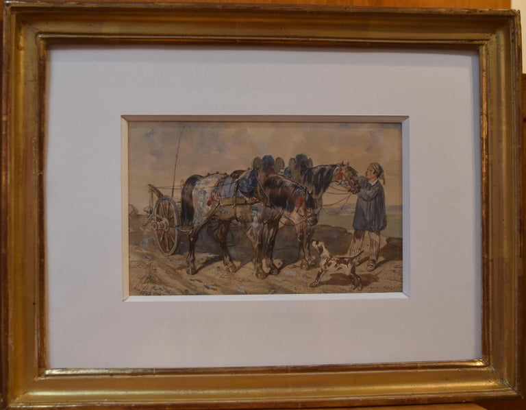 French school, 1840, A Peasant and his carriage, wartercolor, signed - Art by Unknown