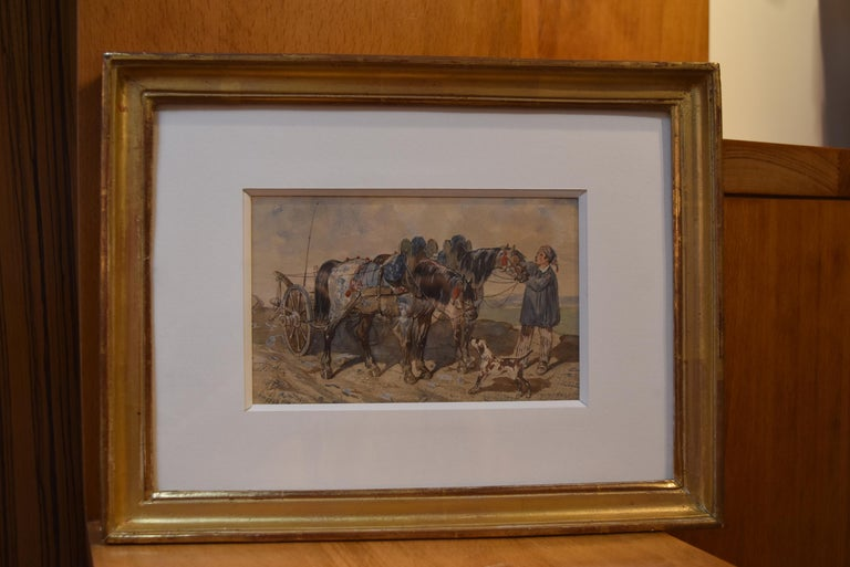 French school, 1840, A Peasant and his carriage, wartercolor, signed - Gray Animal Art by Unknown