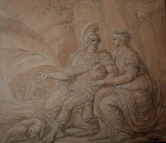 Louis-Félix Delarue (1730-1777) Mars and Venus, drawing