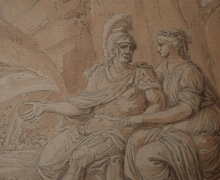 Louis-Félix Delarue (1730-1777) Mars and Venus Signed lower right Black ink and brown ink wash on paper 13.5 x 15 cm Framed : 29 x 31 cm The warrior with a dog at his feet is easily identified as Mars, god of war in the roman era, he holds the hand