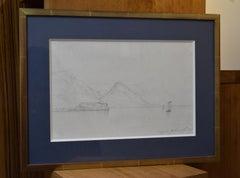 Jules Coignet (1798-1860) Lago di Guarda , 1837, fine drawing