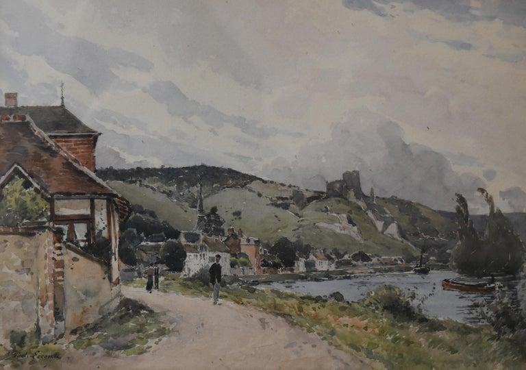 Paul Lecomte (b.1842) Landscape Art - Paul Lecomte (1842-1920) The Seine at Les Andelys, Chateau Gaillard, Normandy