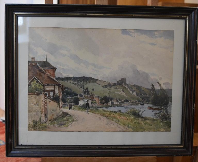 Paul Lecomte (1842-1920) The Seine at Les Andelys, Chateau Gaillard, Normandy - Impressionist Art by Paul Lecomte (b.1842)