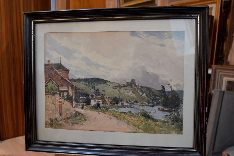 Paul Lecomte (1842-1920) The Seine at Les Andelys, Chateau Gaillard, Normandy - Art by Paul Lecomte (b.1842)