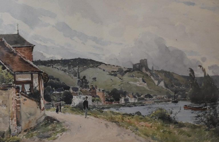 Paul Lecomte (1842-1920) The Seine at Les Andelys, Chateau Gaillard, Normandy For Sale 1