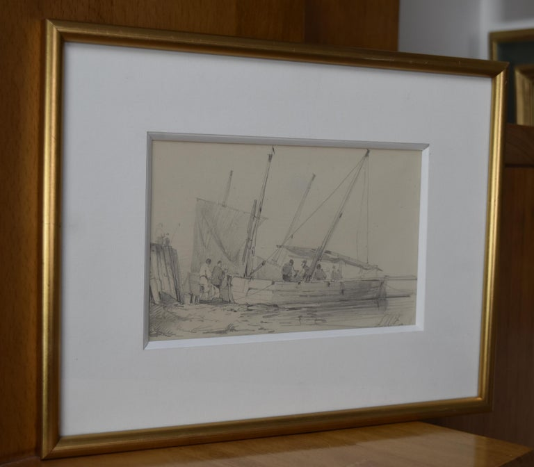 French school of the nineteenth century, LW (?)  Harbor scene, drawing signed - Art by Unknown