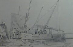 French school of the nineteenth century, LW (?)  Harbor scene, drawing signed