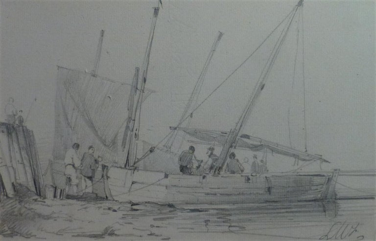 Unknown Landscape Art - French school of the nineteenth century, LW (?)  Harbor scene, drawing signed