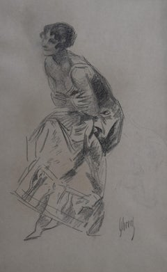 Jules Cheret (1836-1932) Dancer, charcoal drawing, signed
