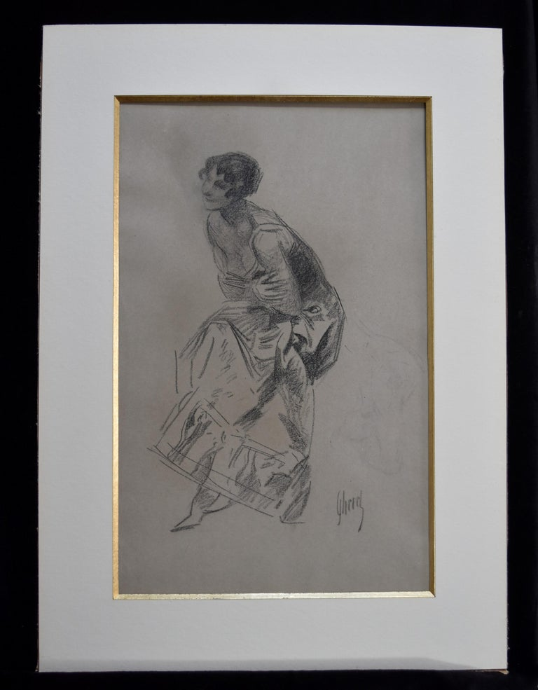 Jules Cheret (1836-1932) Dancer, charcoal drawing, signed - Art by Jules Chéret