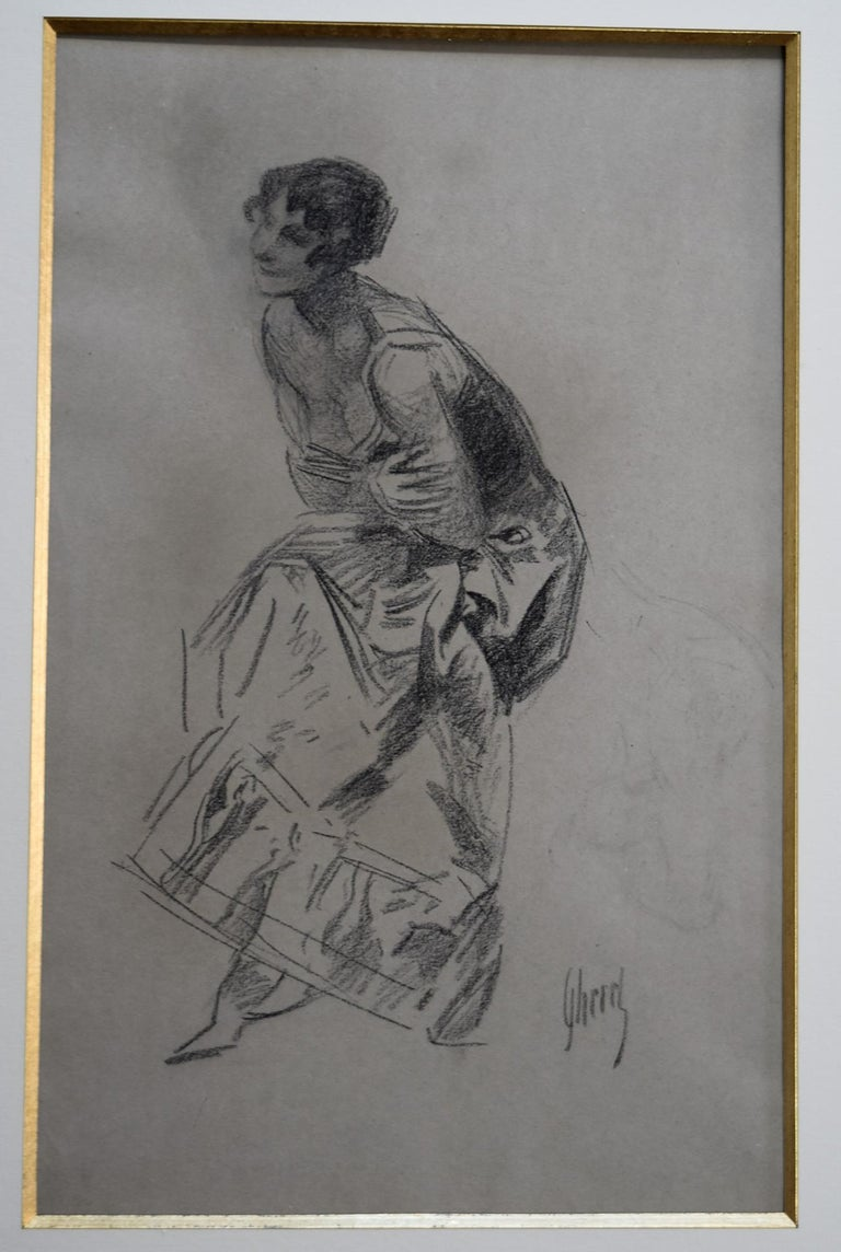 Jules Cheret (1836-1932) Dancer, charcoal drawing, signed - Art Nouveau Art by Jules Chéret