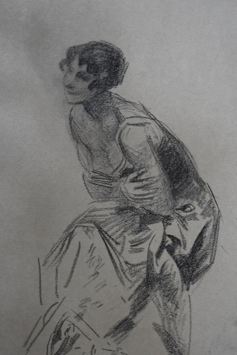 Jules Cheret (1836-1932) Dancer, charcoal drawing, signed - Gray Figurative Art by Jules Chéret