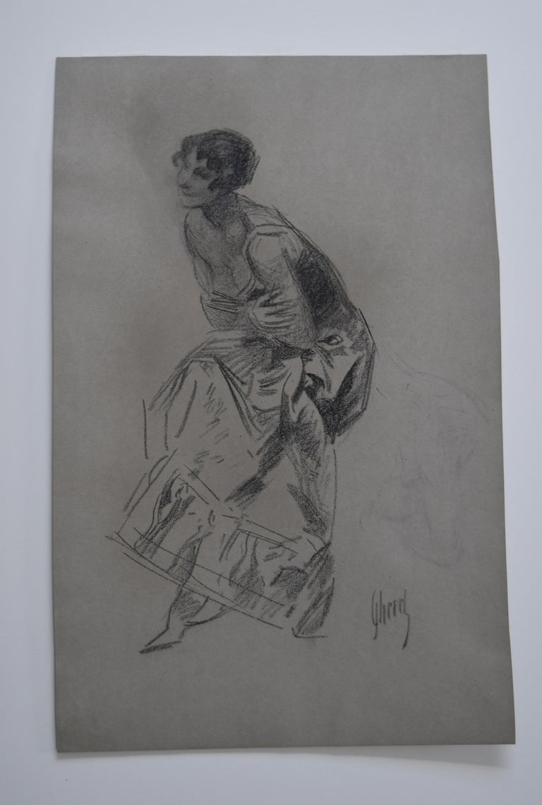 Jules Cheret (1836-1932) Dancer, charcoal drawing, signed For Sale 1