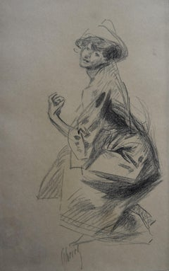 Jules Cheret (1836-1932) Dancer with a hat, charcoal drawing, signed