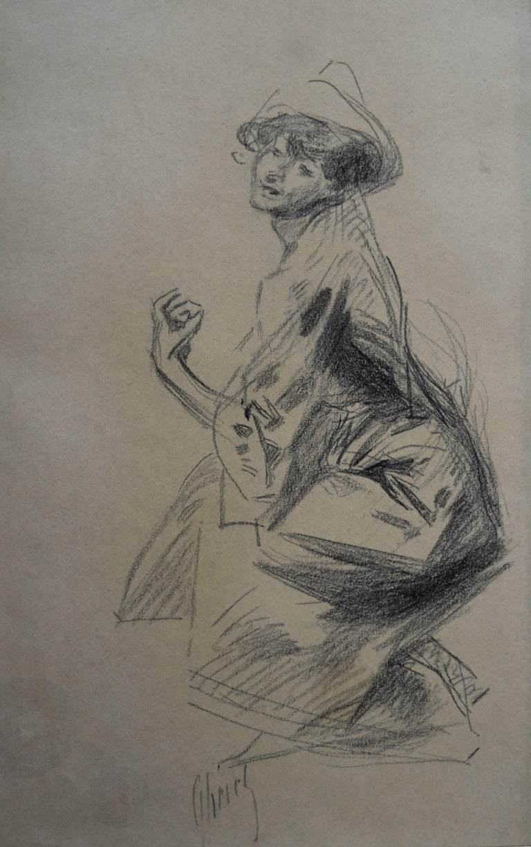 Jules Chéret Figurative Art - Jules Cheret (1836-1932) Dancer with a hat, charcoal drawing, signed