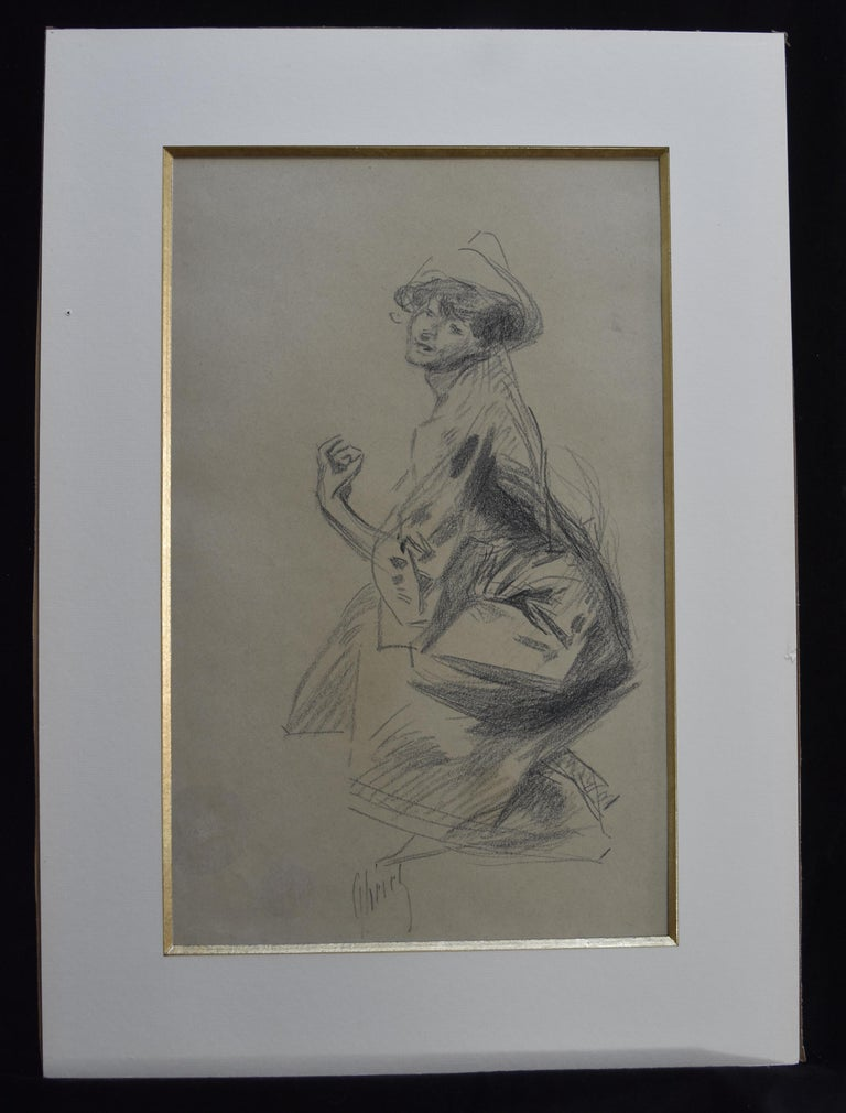 Jules Cheret (1836-1932) Dancer with a hat, charcoal drawing, signed - Art by Jules Chéret
