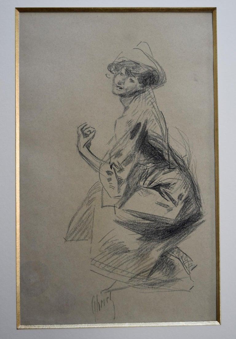 Jules Cheret (1836-1932) Dancer with a hat, charcoal drawing, signed - Art Nouveau Art by Jules Chéret