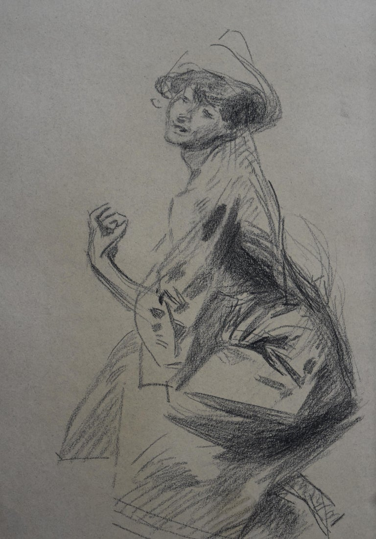 Jules Cheret (1836-1932)  A female Dancer with a hat charcoal on brown paper signed on the bottom middle* In good condition, two round stains visible on the bottom left  mostly visible on the verso of the sheet (see photos)  In a cardboard mount
