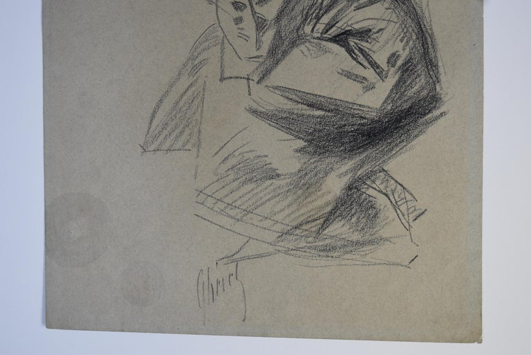 Jules Cheret (1836-1932) Dancer with a hat, charcoal drawing, signed For Sale 2