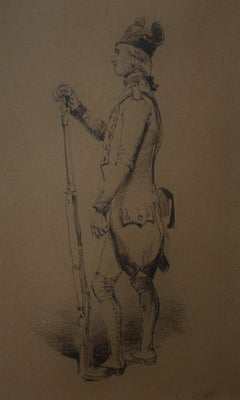 Edouard Detaille (1848 1912), An 18th century soldier Original Drawing