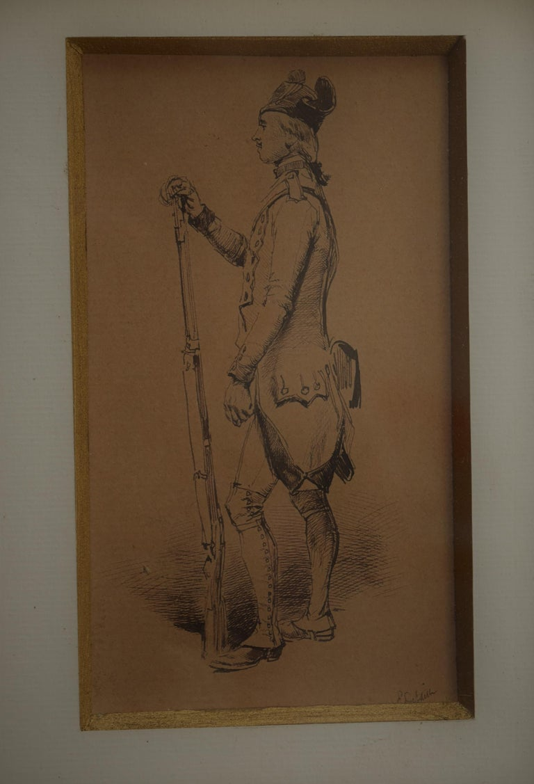 Edouard Detaille (1848 1912), An 18th century soldier Original Drawing - Academic Art by Jean Baptiste Édouard Detaille