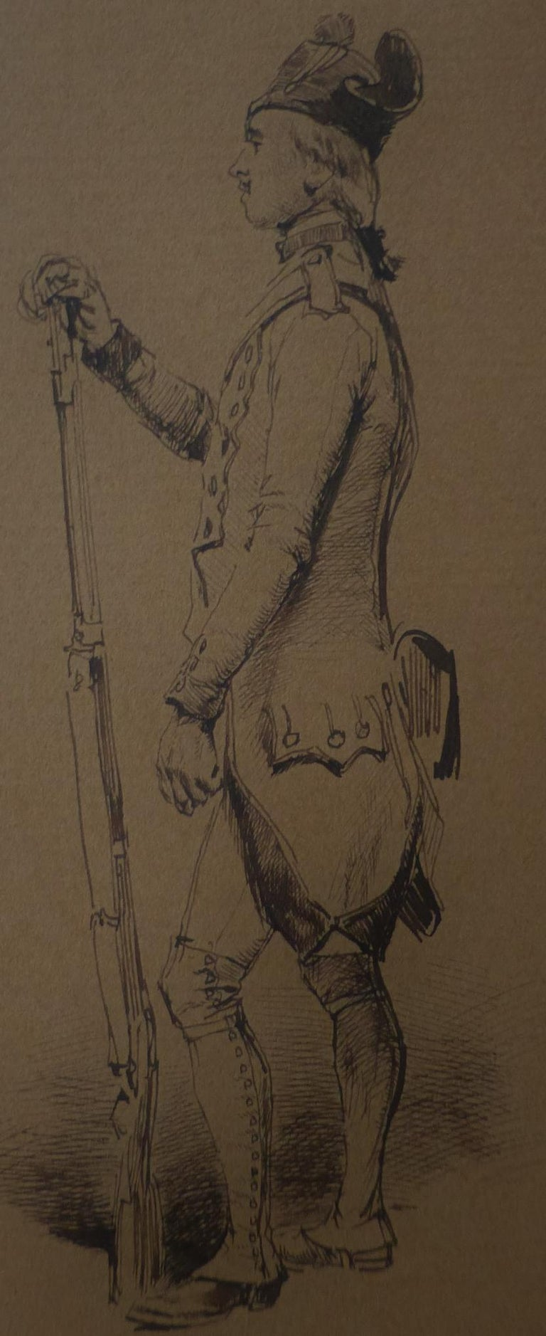 Edouard Detaille (1848 1912), An 18th century soldier Original Drawing For Sale 1