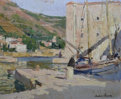 Paul Emile Lecomte (1877-1950)  A harbor in south France, Oil on panel
