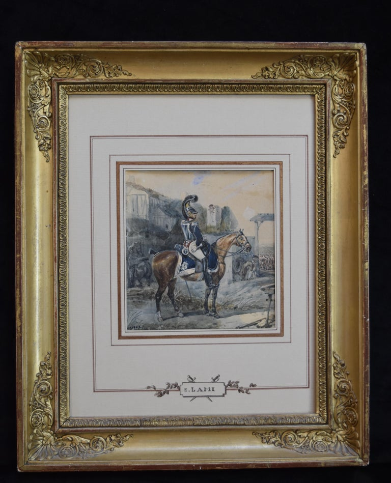Attributed to Eugene Lami, a Hussar on his horse, watercolor - Art by Unknown