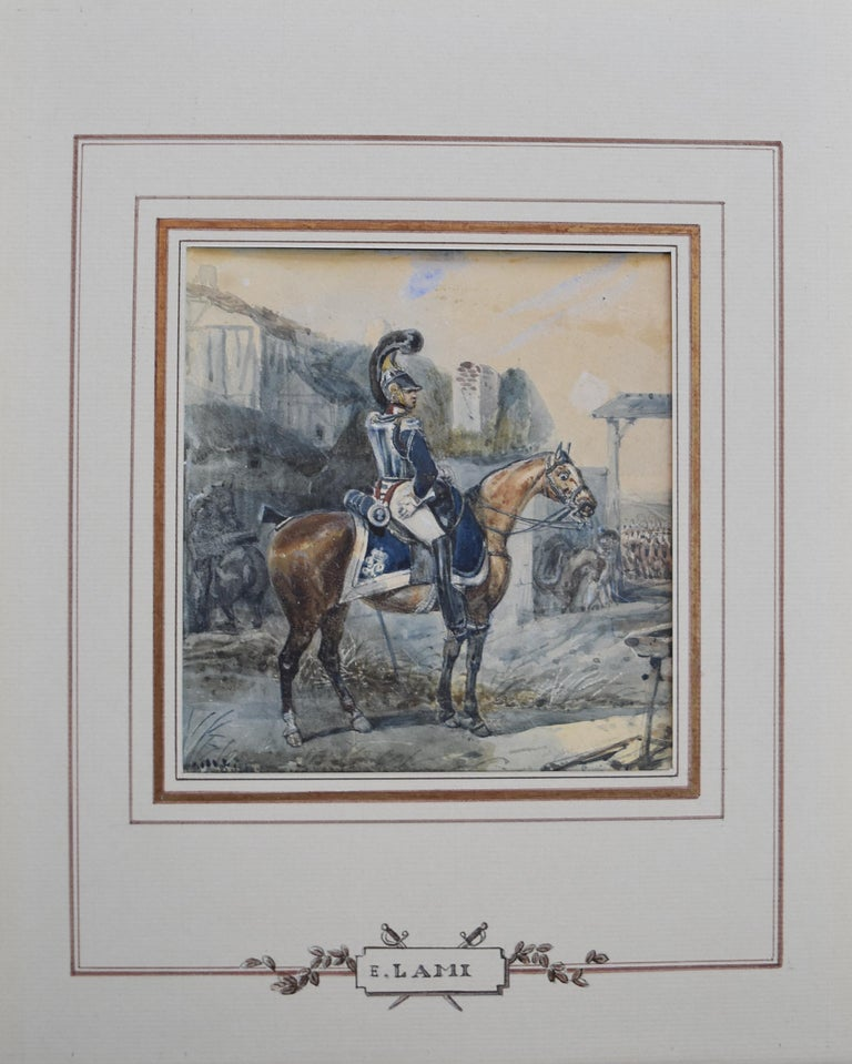 Attributed to Eugene Lami, a Hussar on his horse, watercolor - Old Masters Art by Unknown