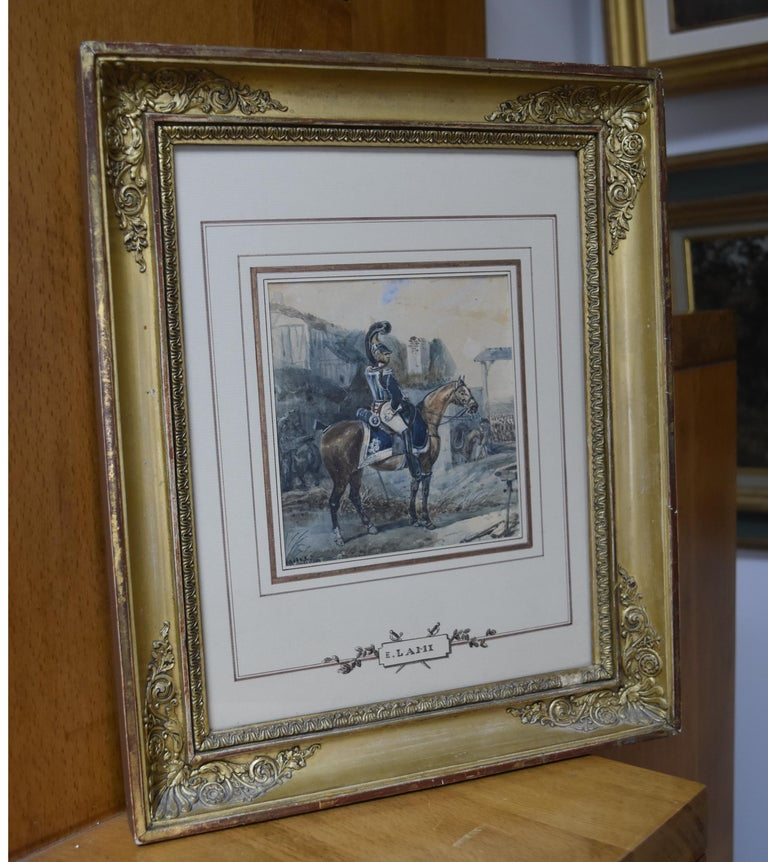 Attributed to Eugene Lami, a Hussar on his horse, watercolor - Black Portrait by Unknown