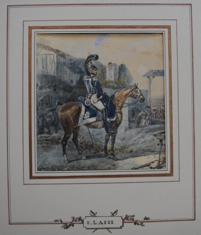 Attributed to Eugene Lami, a Hussar on his horse, watercolor For Sale 1