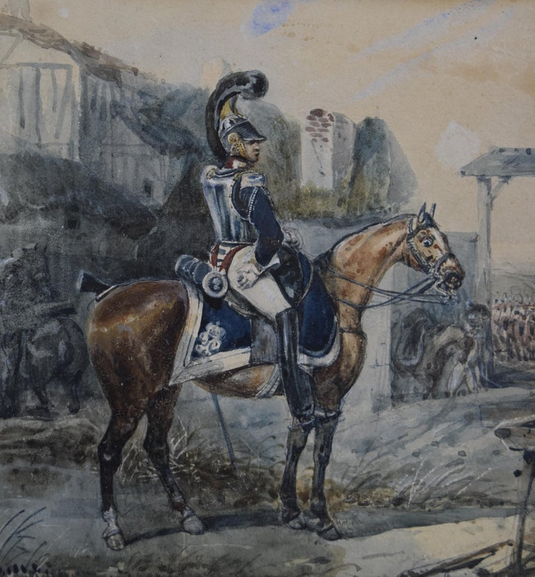 Attributed to Eugene Lami, a Hussar on his horse, watercolor For Sale 2