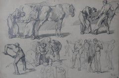 Monogrammist DC, France 19th Century, Blacksmiths and Workers, drawing