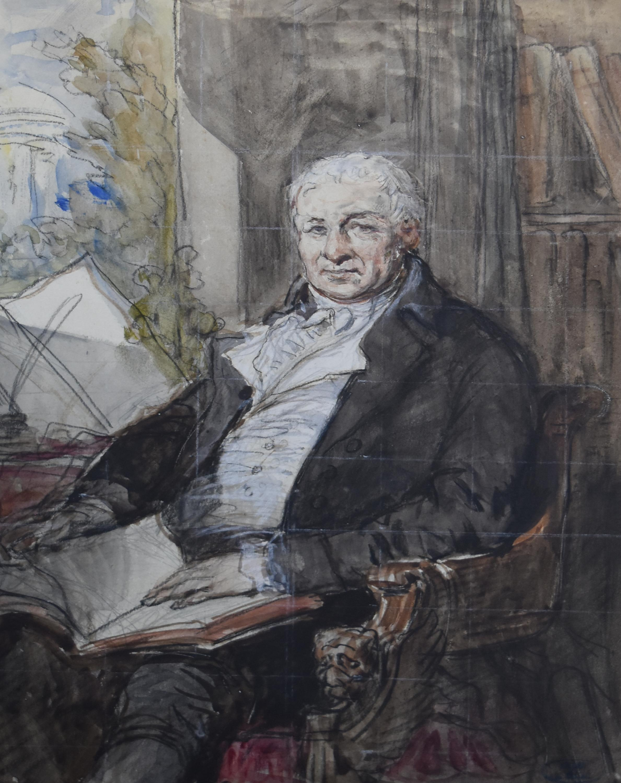 Louis Gallait (1810-1887) Portrait of a Gentleman, watercolor and gouache