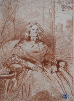 Louis Gallait (1810-1887) Portrait of Madame Picke, red chalk on paper