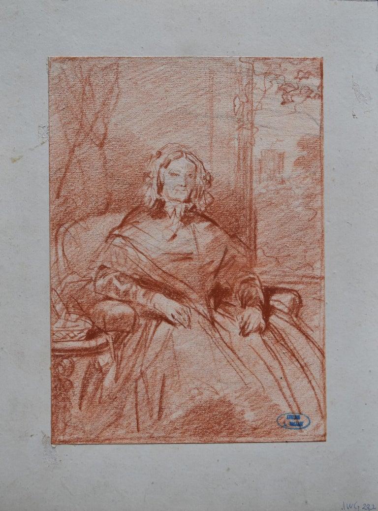 Louis Gallait (1810-1887) Portrait of Madame Picke, red chalk on paper - Romantic Art by Louis Gallait