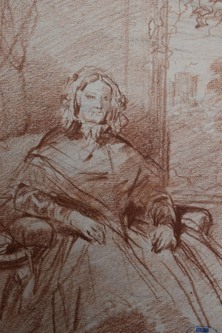 Louis Gallait (1810-1887) Portrait of Madame Picke, red chalk on paper For Sale 2