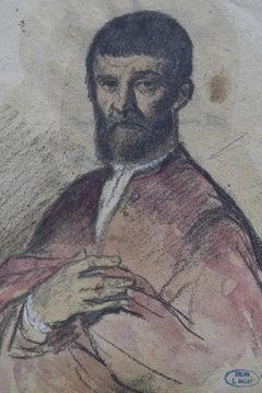 Louis Gallait (1810-1887) Portrait of a Man of the Renaissance, watercolor