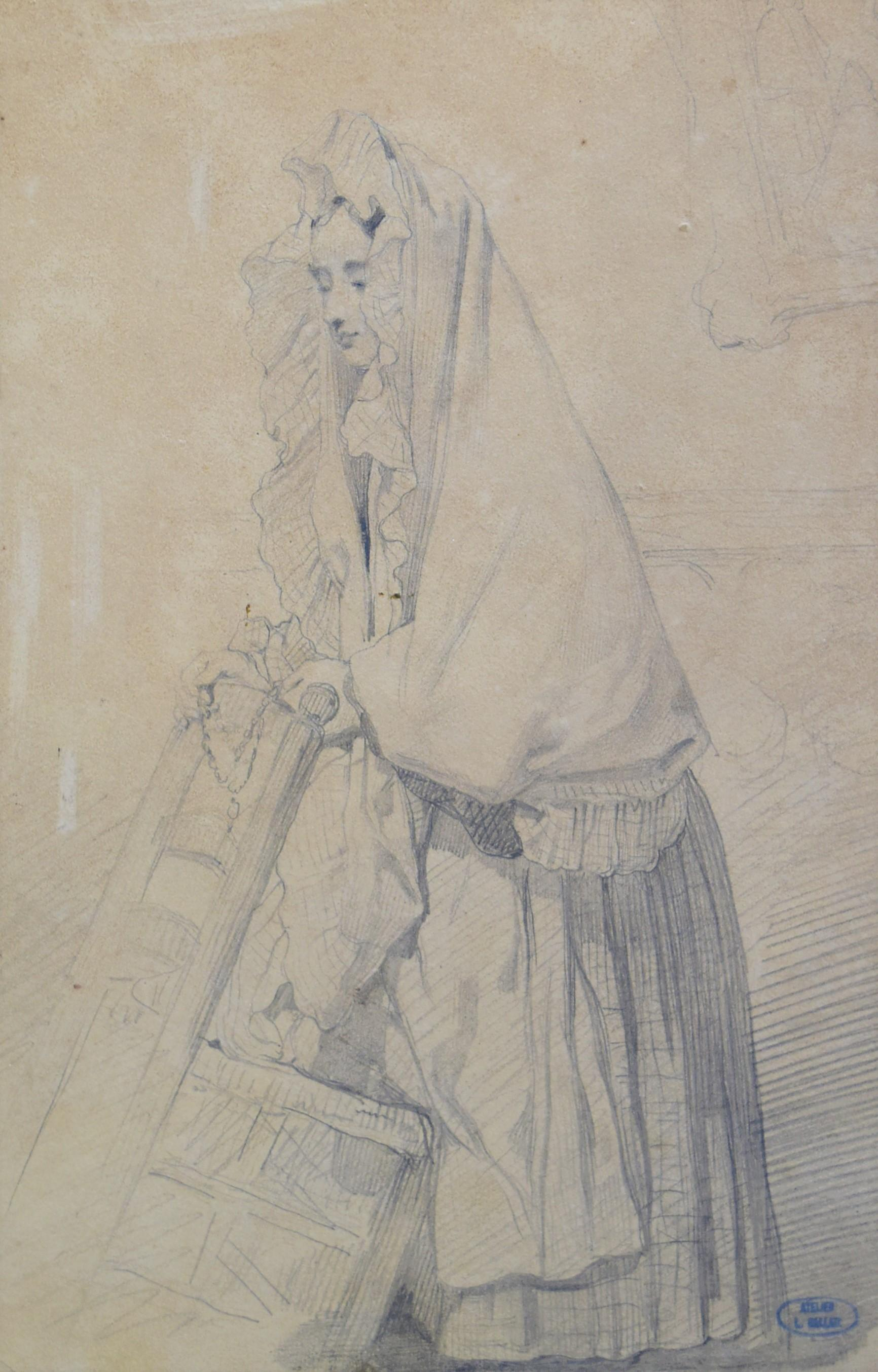 Louis Gallait (1810-1887) Study of a young girl in prayer, drawing