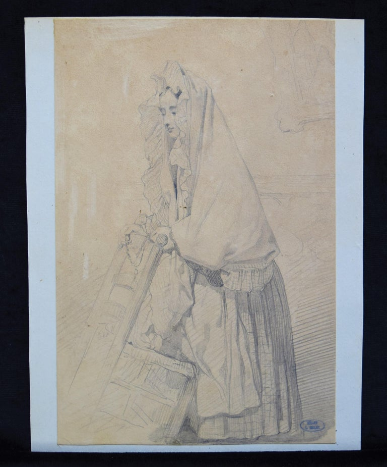 Louis Gallait (1810-1887) Study of a young girl in prayer, drawing - Romantic Art by Louis Gallait