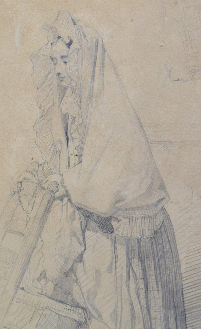 Louis Gallait (1810-1885) A young girl in prayer, study Lead mine on paper,   26 x 17 cm Stamp of the Louis Gallait Estate on the lower right In quite good condition, traces of rubbings in the left part as visible on the pictures, slightly