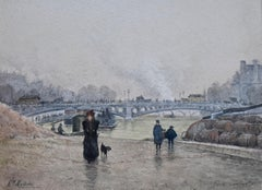 Henri Mouren (1844-1926) Paris, La Seine au Pont des Saints Pères, watercolor