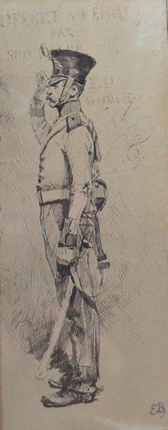 Edouard Detaille (1848 1912), A soldier at attention, Original Drawing