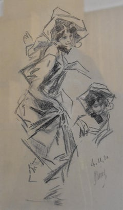 Jules Cheret (1836-1932) A young lady, two studies, charcoal drawing, signed