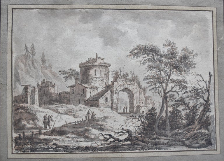 France, 18th Century, View of a fortified village, drawing - Art by Unknown